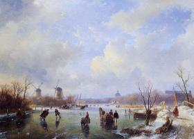 Андреас Схелфхаут. Конькобежцы на замерзшей реке с мельницей