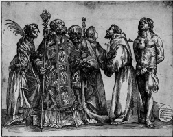 Тициан Вечеллио. Шестеро святых, справа налево: Екатерина, Николай, Пётр, Антоний, Франциск, Себастьян