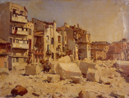 Giovanni Giacometti. Stonemasons in Ripa Grande, Italy