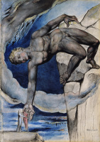 William Blake. Antaeus lowers Dante and Virgil into the last circle of Hell