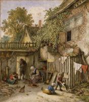 Адриан Янс ван Остаде. Крестьянский двор и женщина, чистящая мидии