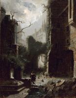 Karl Spitzweg. Moonlit scene with castle ruins