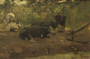 Антон Мауве. Отдыхающие коровы в летний день