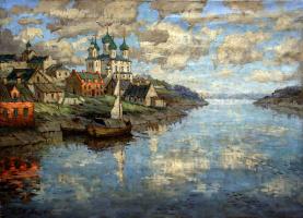 Константин Иванович Горбатов. Вид с реки на старый город