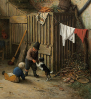 Адриан Янс ван Остаде. Во дворе крестьянского дома. Фрагмент. Дети и собака