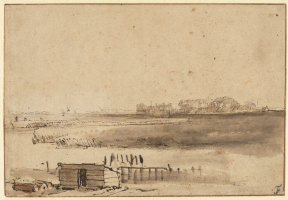 Рембрандт Харменс ван Рейн. Вид на Хотвел со стороны ворот святого Антония