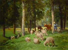 Charles Emile Jacques. Landscape with sheep