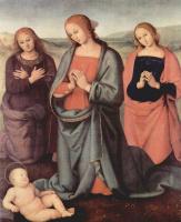 Пьетро Перуджино. Мария, поклоняющаяся младенцу, со св. Иоанном Евангелистом и св. Марией Магдаленой