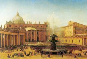 Григорий Григорьевич Чернецов. Площадь Святого Петра в Риме во время папского благословения