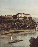 Giovanni Antonio Canal (Canaletto). View of Pirna with the fortress of Sonnenstein the mountain Weinberg, fragment