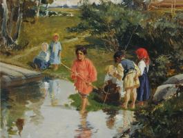 Илларион Михайлович Прянишников. «Ребятишки-рыбачки. Эскиз» 1882