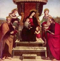 Рафаэль Санти. Алтарь Колонна, центральная часть, сцена: Мария на троне с младенцем Христом, младенец Иоанн Креститель, справа: Святые Павел