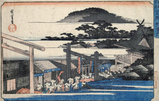 "Utagawa Hiroshige. Neighborhood Shrine in Shiba Simma. The series ""Famous places of the Eastern capital"""