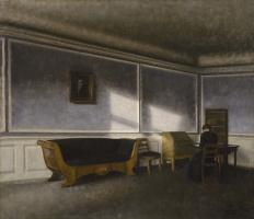 Вильгельм Хаммерсхёй. Солнечный свет на стене гостиной