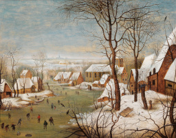 Питер Брейгель Младший. Зимний пейзаж с деревней и ловушкой для птиц