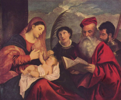 Тициан Вечеллио. Мария с младенцем, св. Стефаном, св. Иеронимом и св. Маурицием