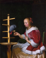 Ван Миепис тх Елдеп Франс. Женщина в красной куртке кормит попугая