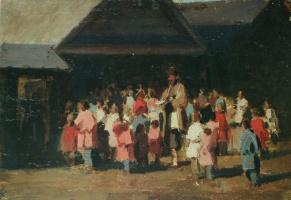 Илларион Михайлович Прянишников. «Приход офени на село. Этюд» 1870-е