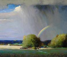 Александр Викторович Шевелёв. Пейзаж с радугой.Холст,масло 86,4 # 98,8 см.2009