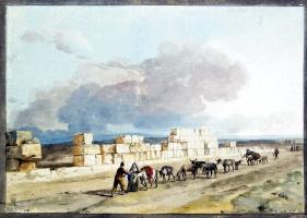 Жан-Пьер-Лоран Уэль. Руины стен храма Юпитера