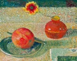 Куно Амье. Натюрморт с цветком, яблоком и фруктовым ножом