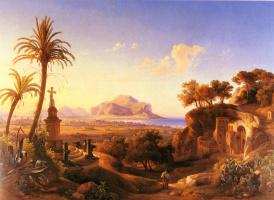 Иоганн Георг Гмелин. Георг перед святыней с видом Палермо