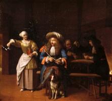 Питер де Хох. Пустой кувшин. Сцена в таверне: мужчина с трубкой, женщина и игроки в карты