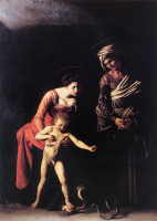 Michelangelo Merisi de Caravaggio. The Madonna and child with Saint Anne