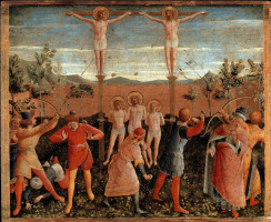 Fra Beato Angelico. Crucifixion and stoning of saints Cosmas and Damian. The altar of the monastery of San Marco. Limit 6