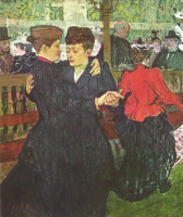 "Henri de Toulouse-Lautrec. In ""Moulin Rouge"". Two women dancing"