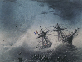 Ivan Aivazovsky. French ship in stormy sea