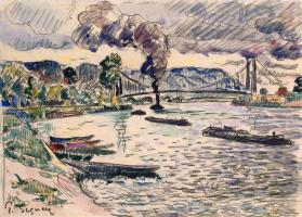 Подвесной мост в Андели или Баржи и буксир на реке. Около 1920