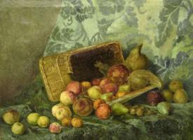 Елена Михайловна Бебутова (Кузнецова). Натюрморт с персиками и тыквой