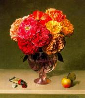 Стоун Робертс. Цветы в вазе и яблоко