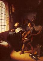 Герард Доу. Интерьер с юным скрипачом