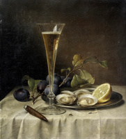Johann Wilhelm Prairie. Still life with champagne and oysters. 1857