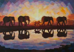 Sergey Volkov. Elephants at Sunset