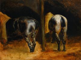 Теодор Жерико. Лошади в конюшне. Эскиз