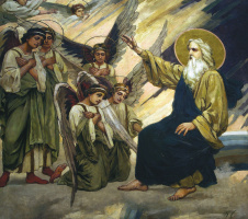 World creation. The first day of creation. Fragment of painting of the Vladimir Cathedral in Kiev