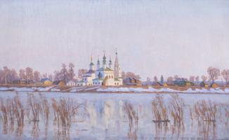 Евгений Александрович Казанцев. Early spring on the Dvina. The Great Ustyug.