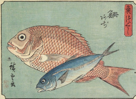 """Утагава Хиросигэ. Морской окунь и ставрида. Серия """"Рыбы"""""""