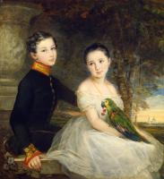 Кристина Робертсон. Дети с попугаем. 1850
