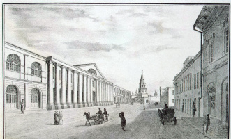 Василий Степанович Турин. Вид улицы у Гостиного двора в Казани