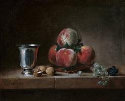 Натюрморт с персиками, серебряным кубком, виноградом и грецкими орехами