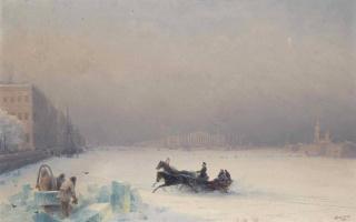 Иван Константинович Айвазовский. Александр II на замерзшей Неве