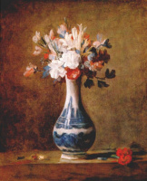 Жан Батист Симеон Шарден. Цветы в голубой с белым вазе