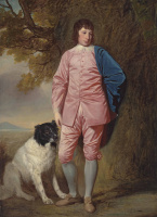 George Romney. Portrait of Richard Newman Harding with a dog