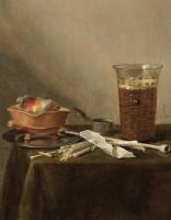 Питер Клас. Натюрморт с жаровней, глиняной трубкой и бокалом пива