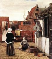 Питер де Хох. Женщина и горничная во дворе