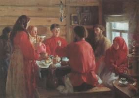 Иван Семенович Куликов. В крестьянской избе. 1902